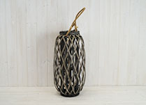 Gorgeous grey split willow lantern with rope handle. Perfect lantern for your home!