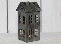 Grey Metal House Tealight Holder