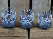 Set of Three Round Christmas Tealight Holders