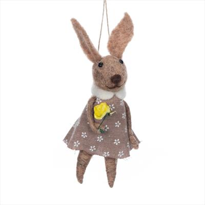 Hanging Wool Rabbit in Dress 14 cm tall