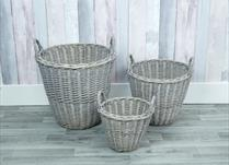 Set of 3 Greywashed Willow Baskets
