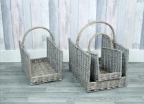 Set of 3 square greywashed baskets