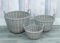 Set of 3 willow greywashed baskets