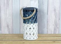 Medium White and Blue Wicker Lantern