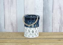 Small White and Blue Wicker Lantern