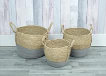 Set of 3 straw baskets detail page