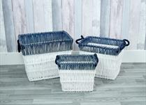 Set of 3 White and blue wicker baskets