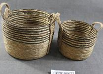 Set of three dark seagrass baskets with ear handles