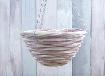 Pink and Natural Core Willow Hanging Basket
