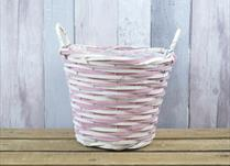 Large Pink and Natural Core Willow Basket with Ears