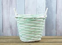 Large Green and Natural Core Willow Basket with Ears