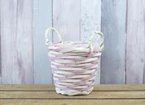 Small Pink and Natural Core Willow Basket with Ears