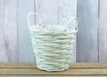 Small Green and Natural Core Willow Basket with Ears