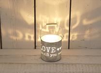 Large 'Love is all you need' Metal Tealight Holder
