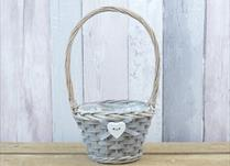 Round Basket with overhandle Button Heart with ribbon