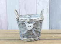 Round Basket with Ears with Button Heart with ribbon to take 1lt Pot