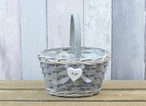 Small Oval Trug Basket with Flexible wooden handle with Button Heart with ribbon