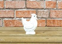 Small White Polyresin Hen