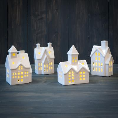 White Ceramic LED House Ornaments