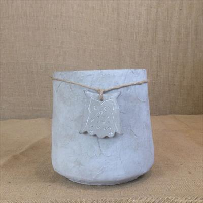 Stone Pot with Owl