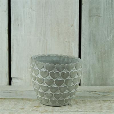 Cement Pot with Heart Pattern