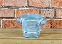 Dark Blue Cement Round Pot