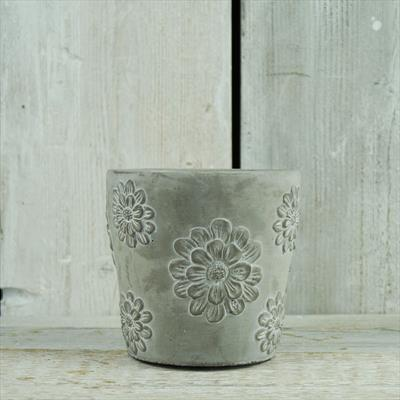 Cement Planter with Floral Design