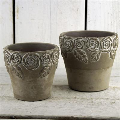 Stone Pots with Rose Design