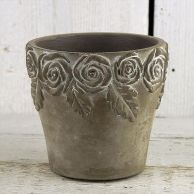 Stone Pot with Rose Design