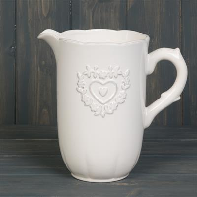 White Ceramic Patterned Jug