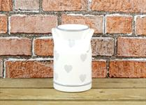 Cream Ceramic Milk Churn with Faded Heart Detail