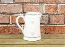 Cream Ceramic Jug with faded Heart detail