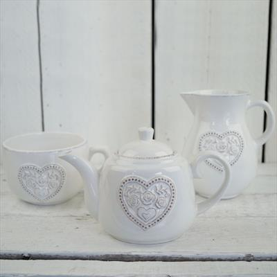 White Ceramic Kitchenware With Heart Detail