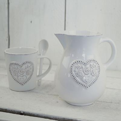 White Ceramic Mug and Jug With Heart Detail