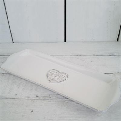 White Ceramic Kitchen Tray With Floral Heart Detail