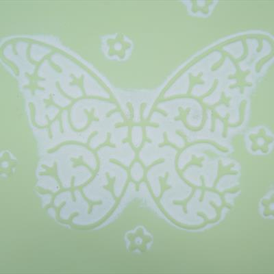 Green Embossed Butterfly
