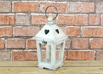 Wooden Lantern with Cut Out Heart Detail