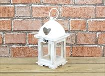 Wooden Lantern with Metal Lid with Heart Detail