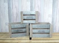 Set of Three Wooden Green Garden Crates