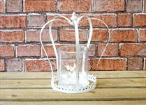 Large White Antique Crown Candle Holder