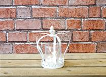 Small Antique White Crown Candle Holder