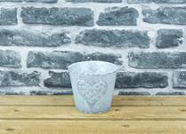 White Washed Embossed Heart Zinc Pot