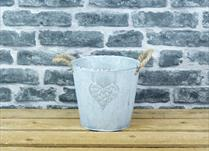 Medium White Washed Embossed Heart Zinc Pot with Hessian Ears