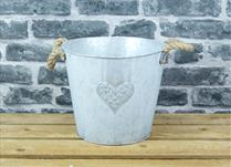 Large White Washed Embossed Heart Zinc Pot with Hessian Ears