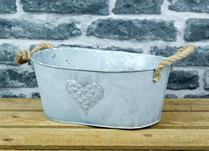 White Washed Embossed Heart Zinc Trough with Hessian Ears