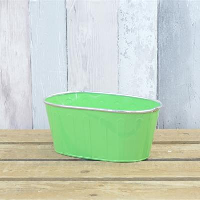 Green Trough With Silver Rim