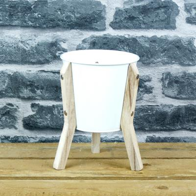 White Planter on Wooden Stand