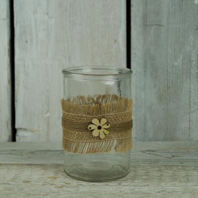 Glass Jar with Hessian Ribbon Decoration