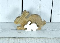 Large Wooden Rabbit Puzzle Display