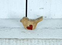 Small Wooden Bird Display with Heart